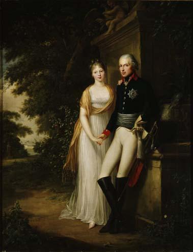 Friedrich Wilhelm III. und Königin Luise im Park von Schloss Charlottenburg, Ölgemälde von Friedrich Georg Weitsch, 1799